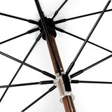 Eco bamboe paraplu windproof wit met haak onderkant
