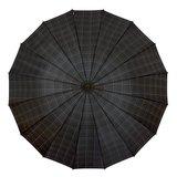 Herenparaplu met haak en print blokjes bovenkant