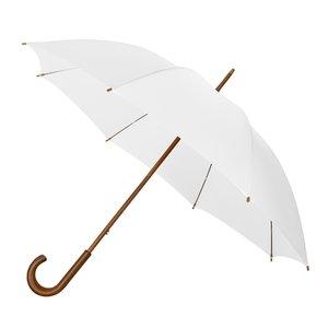 Eco bamboe paraplu windproof wit met haak