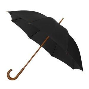 Eco bamboe paraplu windproof zwart met haak